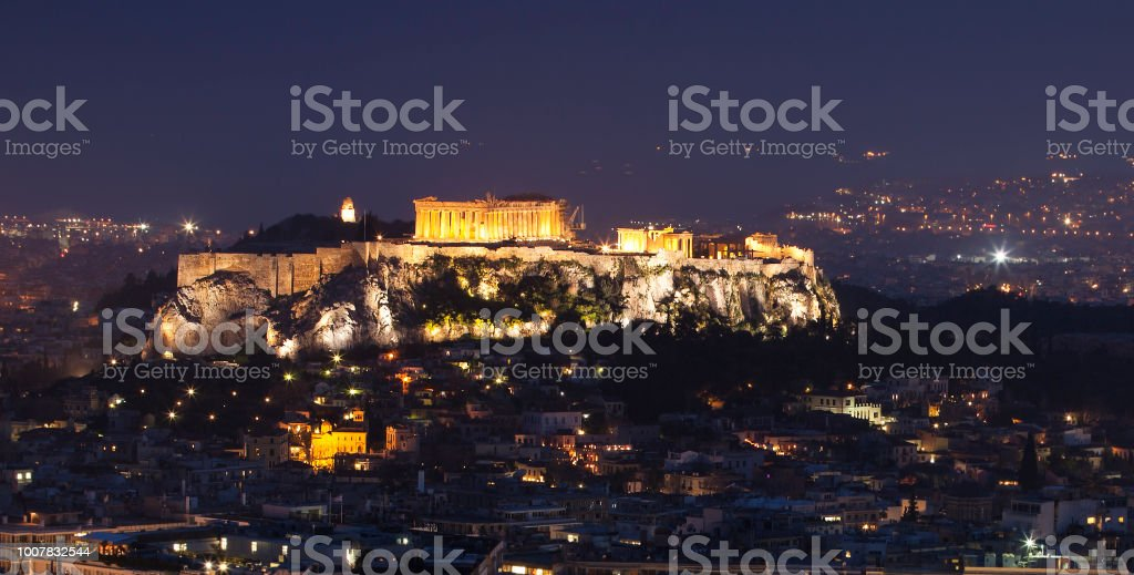 Akropolis and plaka in athens stock photo