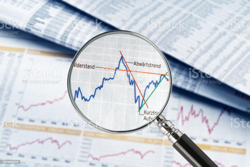 Aktienkurse im Fokus stock photo