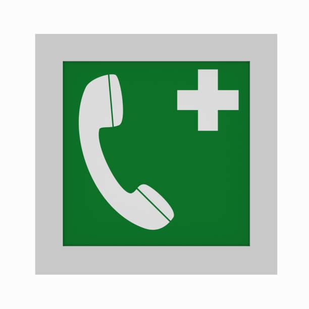 Maueröffnung Rettungszeichen Nach ASR a1. 3: Notruftelefon. Vorderansicht – Foto