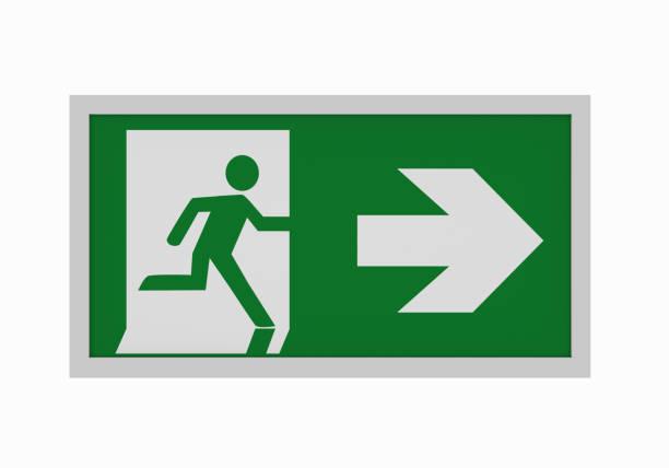 aktuelle rettungszeichen nach asr a1.3: rettungsweg rechts. vorderansicht - exit sign stock photos and pictures