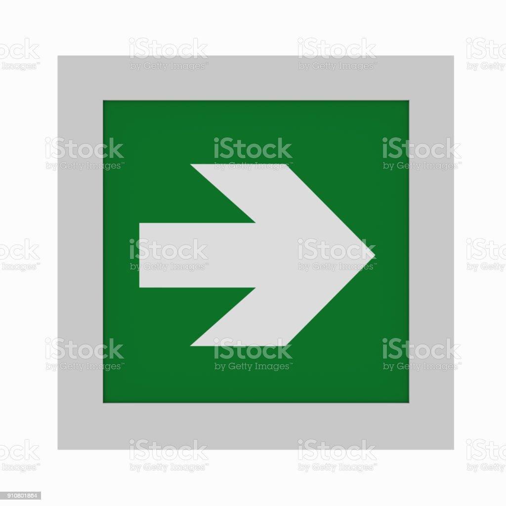 Maueröffnung Rettungszeichen Nach ASR a1. 3: Richtungspfeil Rechts. Ansicht von vorne – Foto