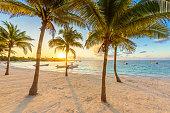 Akumal bay - Caribbean white beach in Riviera Maya, coast of Yucatan and Quintana Roo, Mexico