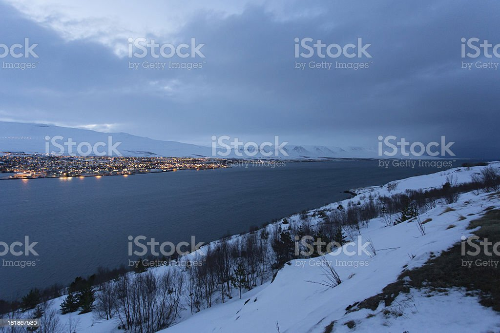 Akureyri city and fjord in winter royalty-free stock photo
