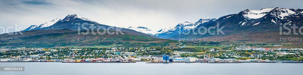 Akureyri Iceland Arctic fishing port nestled between mountains and ocean stock photo