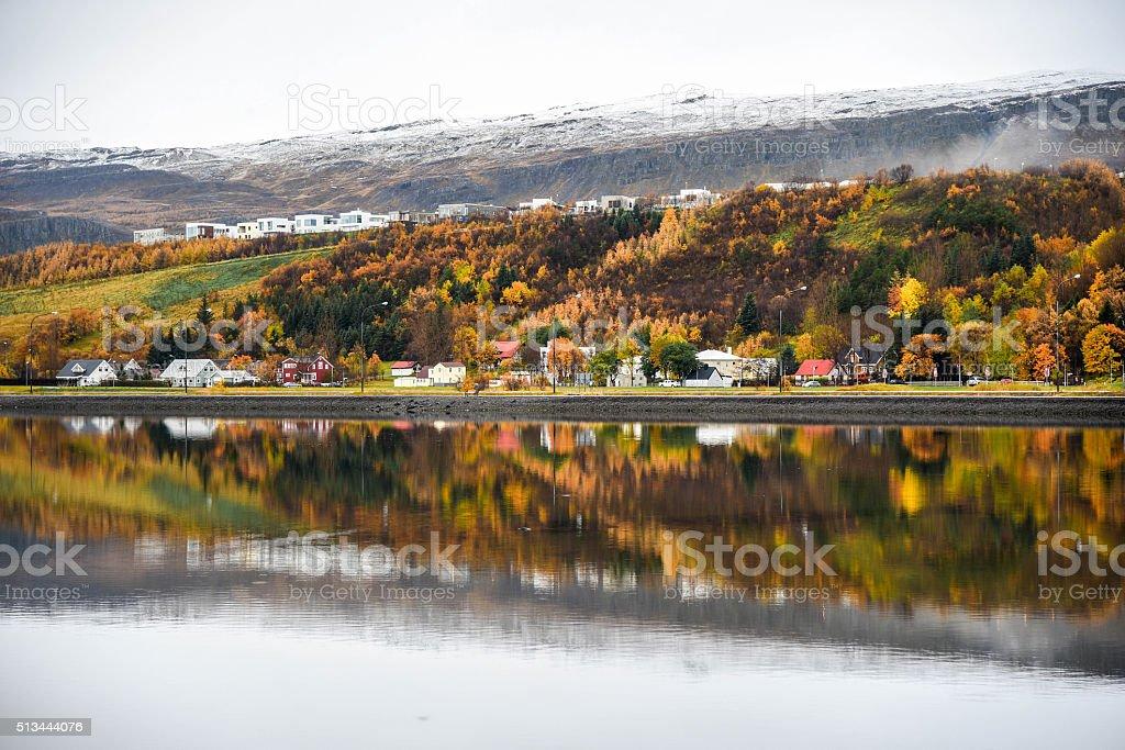Akureyri Im Herbst Island Stock Fotografie Und Mehr Bilder Von
