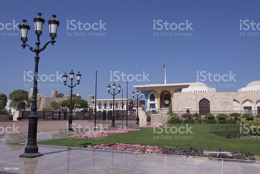 Al Alam Palace and Mirani Fort in old Muscat royalty-free stock photo