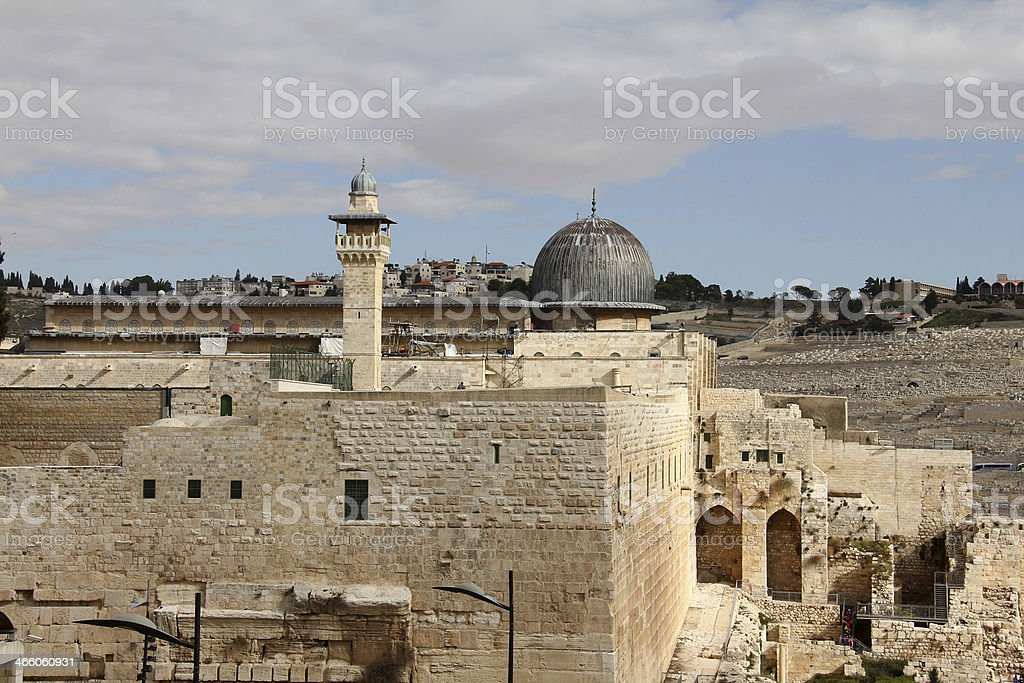 Al Aqsa and   minaret stock photo