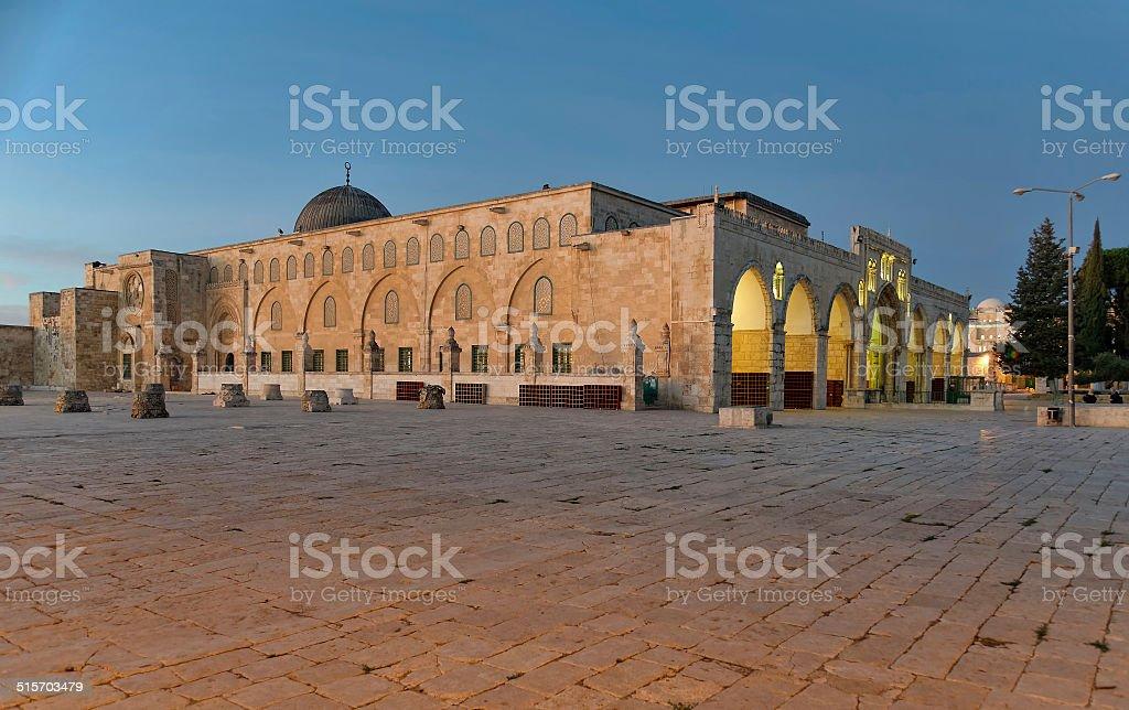 Al Aqsa Masjid (Mosque) in Jerusalem at Dawn stock photo
