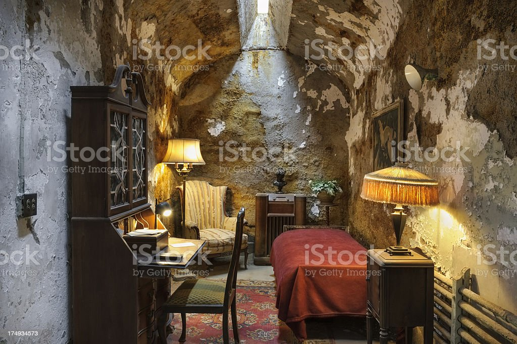 Al Capone's Prison Cell with Fancy Furnishings stock photo
