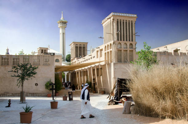 Al Fahidi Historical District in Dubai stock photo