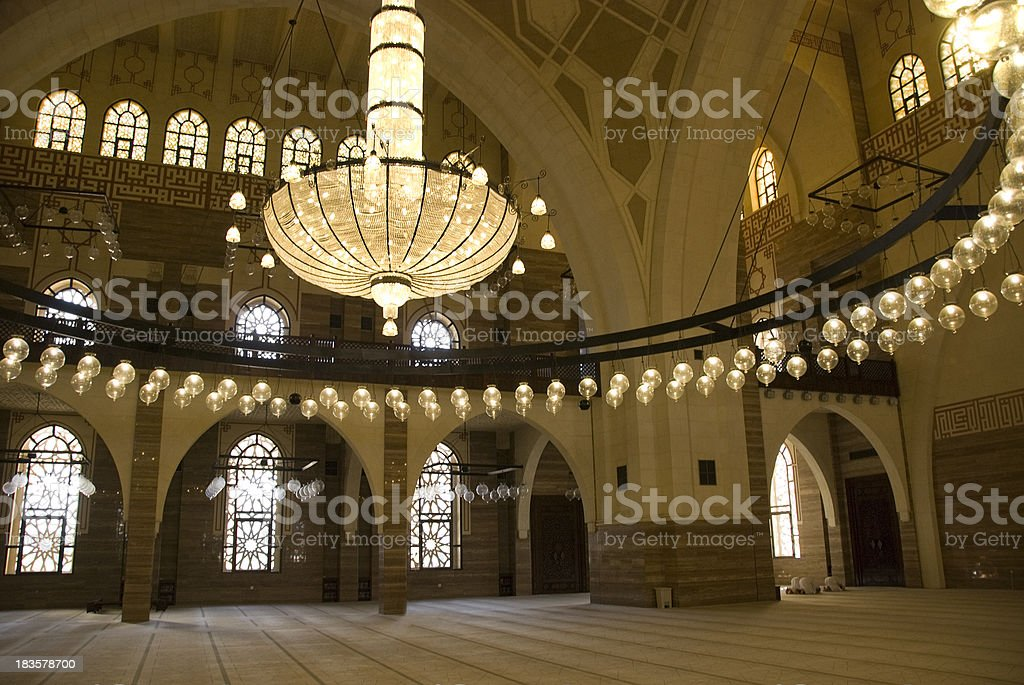 Al Fateh Mosque in Bahrain. stock photo