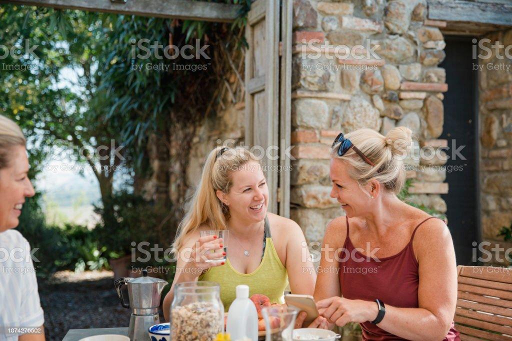 Al Fresco Breakfast on Holiday stock photo