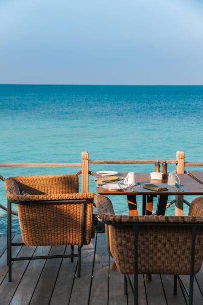 Al fresco breakfast restaurant in Maldives
