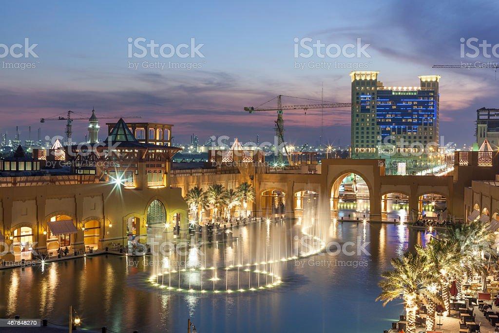 Al Kout Mall at dusk. Kuwait stock photo