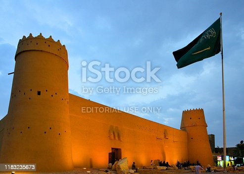 Riyadh, Saudi Arabia: Al Masmak Fortress seen from the northwest corner, 19th century fort taken in 1902 by Abdulaziz ibn Al Saud - built with four watchtowers and thick walls, founded on stone blocks - Saudi Arabia's main historical location, open for free visit.