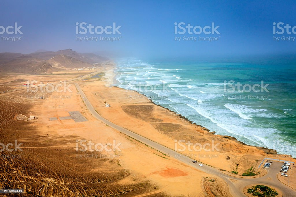 Al Mughsayl beach stock photo