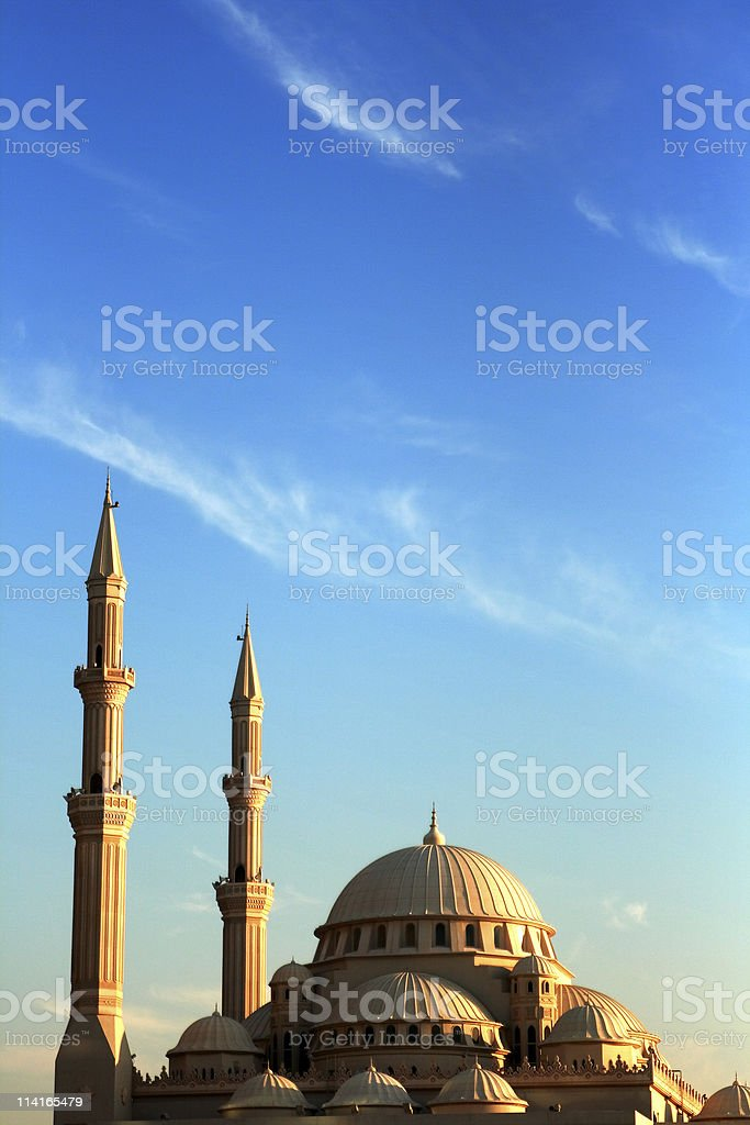 Al noor mosque with blue sky and clouds stock photo