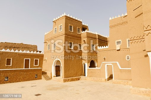 Al Subaie historic palace in Shaqra, Saudi Arabia. This house is traditional restored with clay bricks