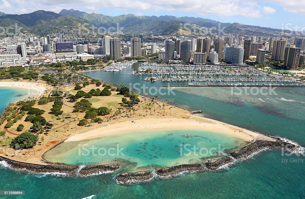 Ala Moana Beach Park stock photo