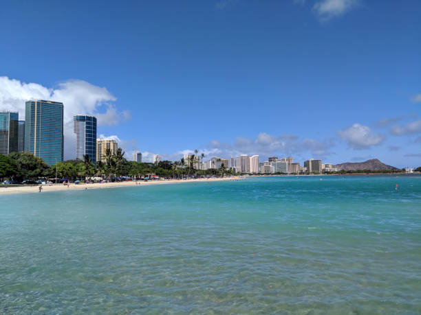 Ala Moana Beach Park with office building and condos in the background stock photo