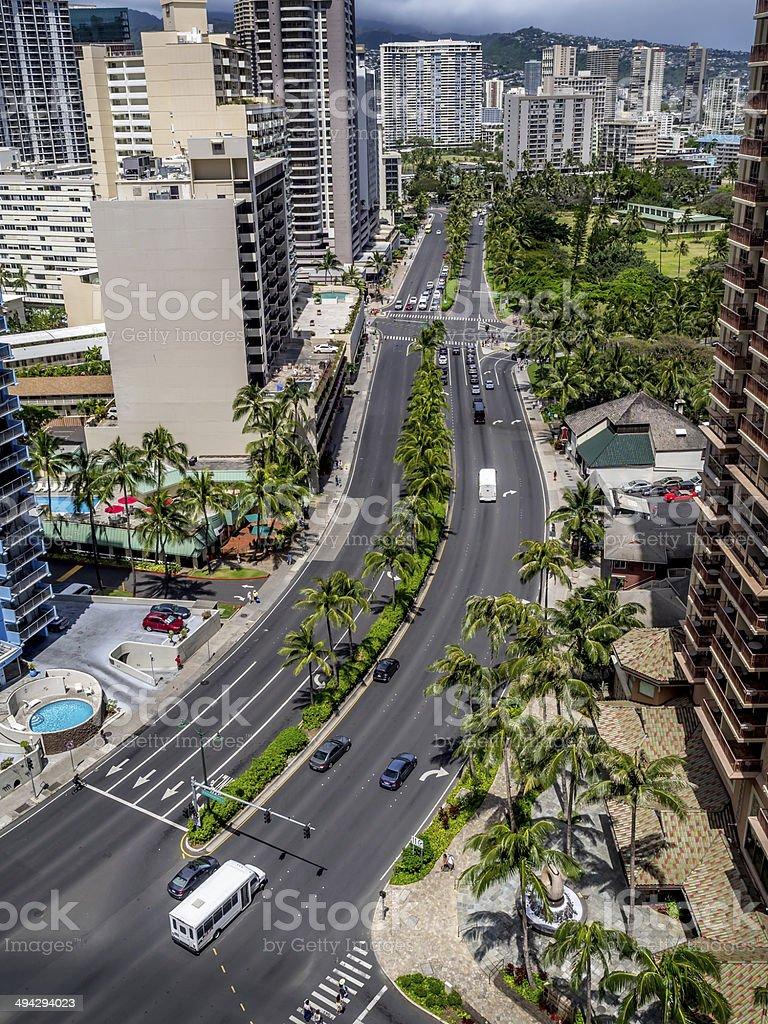 Ala Moana Boulevard and Honolulu skyline stock photo