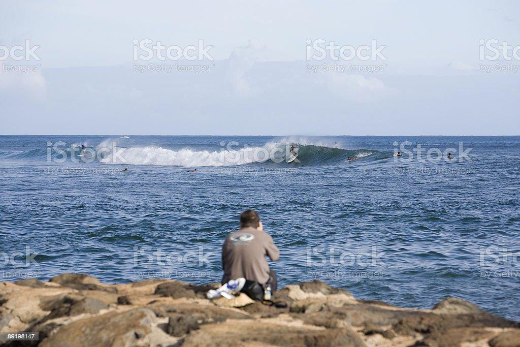 Ala Moana Surfer Photographer royaltyfri bildbanksbilder