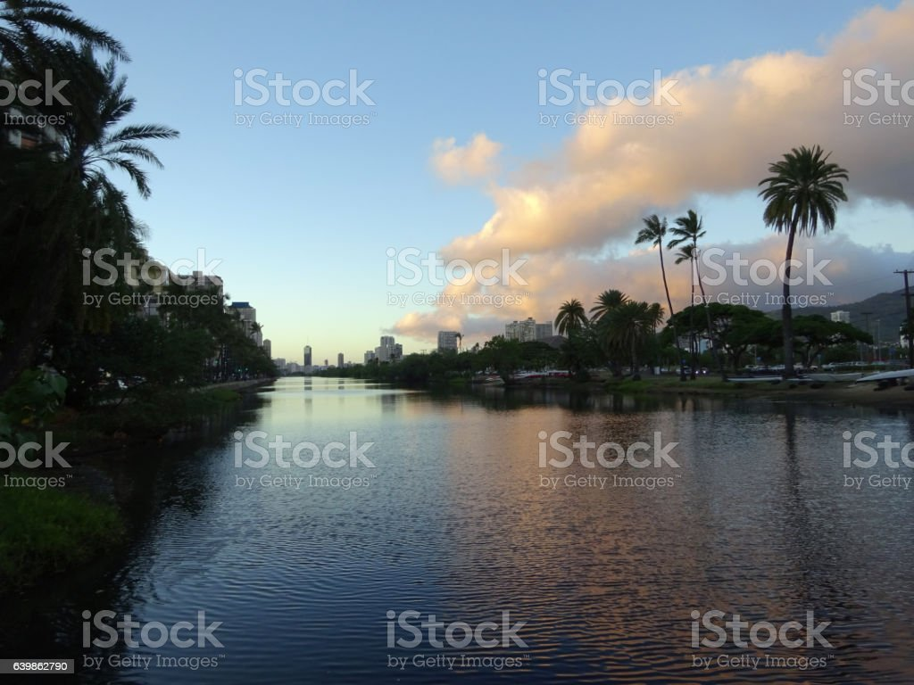 Ala Wai Canal, Canoes, hotels, Condos, Golf Course stock photo