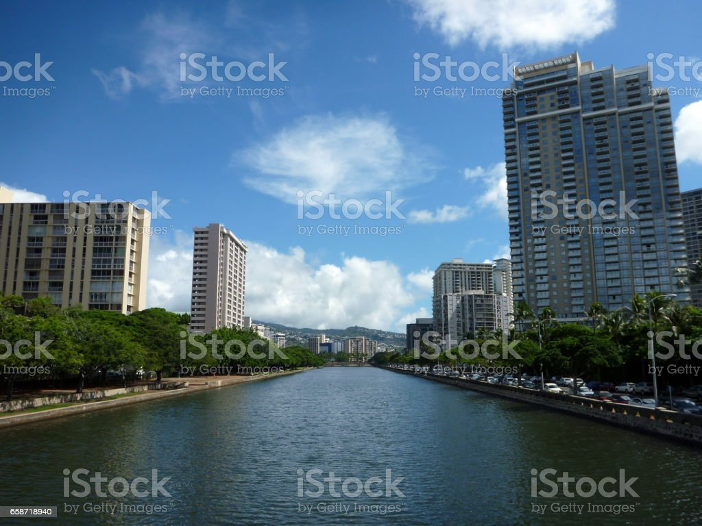 Ala Wai Canal, hotels, Condos, and trees on a nice day in Waikiki on Oahu stock photo