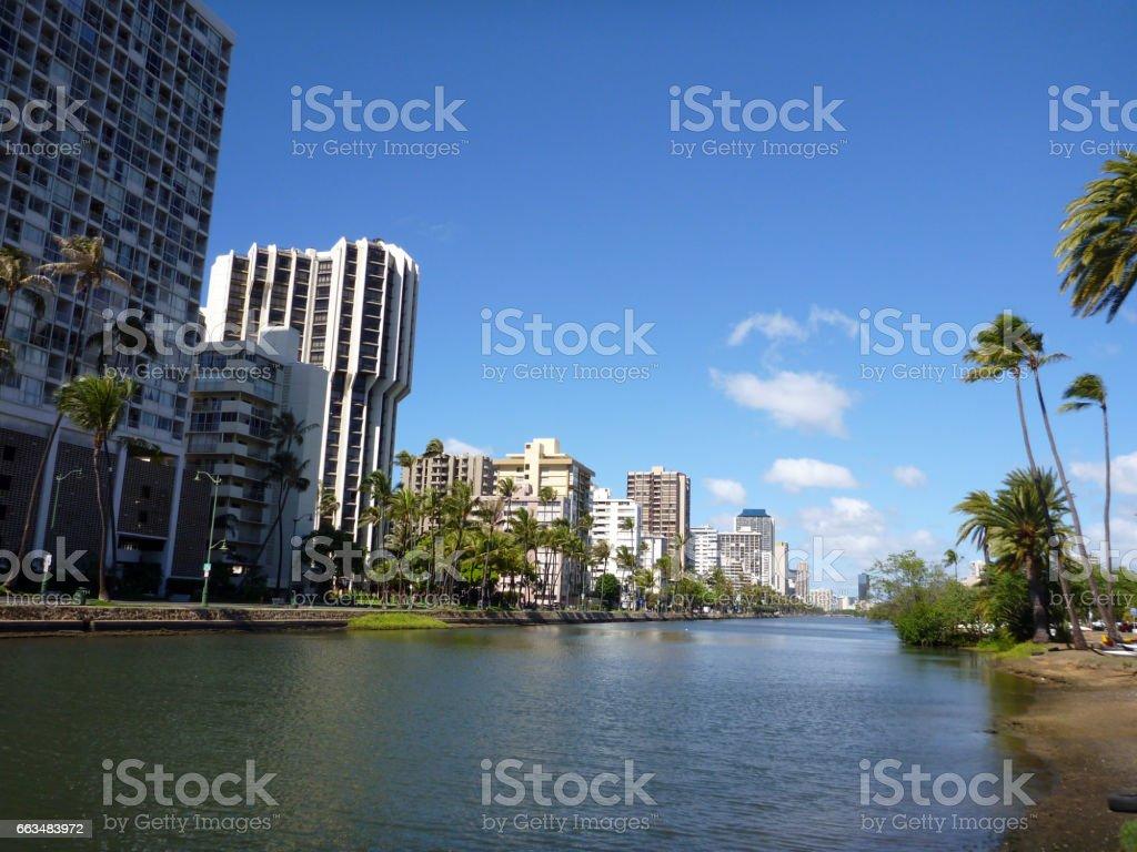 Ala Wai Canal on Oahu, Hawaii stock photo