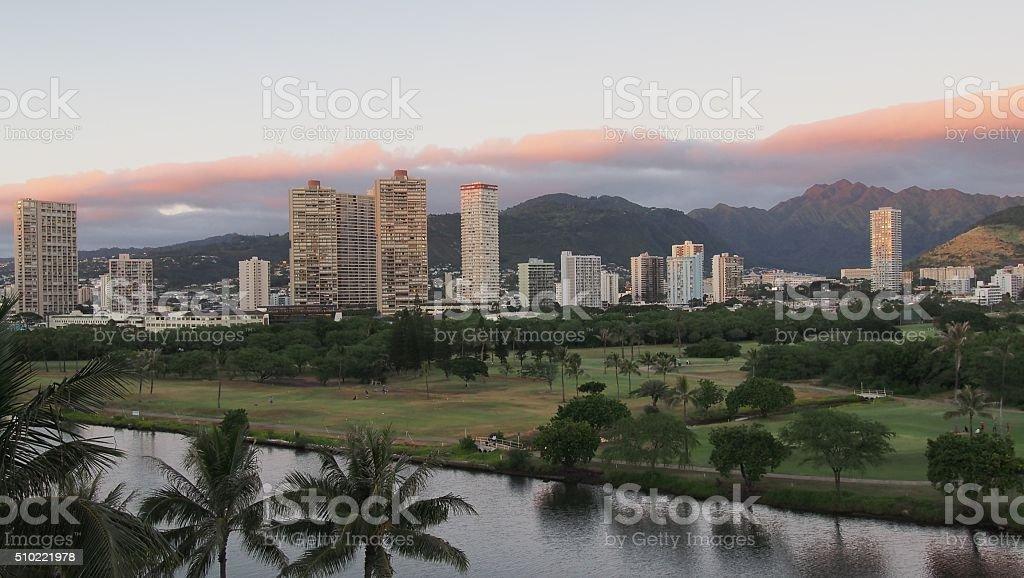 Ala Wai Canal stock photo