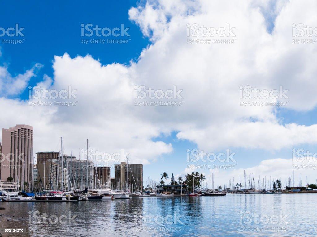 Ala Wai Yacht Harbor in Waikiki, Honolulu City, Oahu Island, Hawaii, USA stock photo