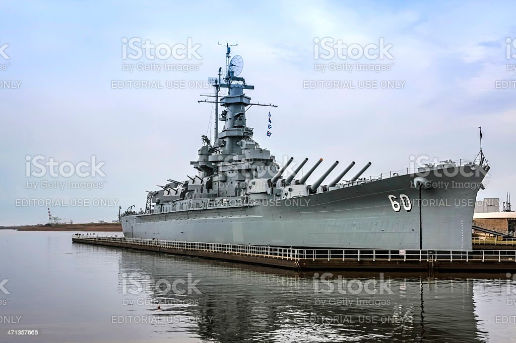 USS Alabama Battleship at Mobile stock photo