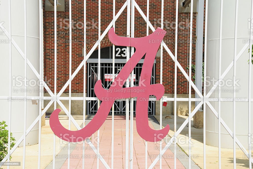 Alabama Crimson Tide A logo on Football Stadium Gate stock photo