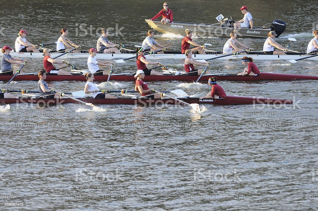 Alabama female crew team practicing on river royalty-free stock photo