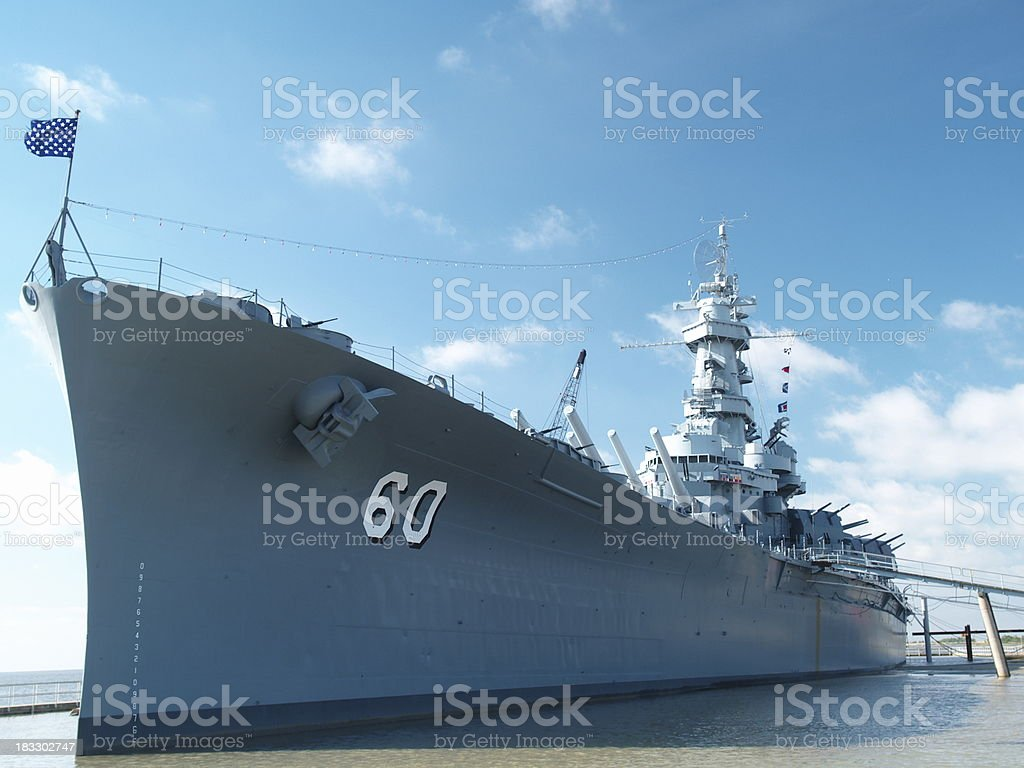 USS Alabama from port royalty-free stock photo