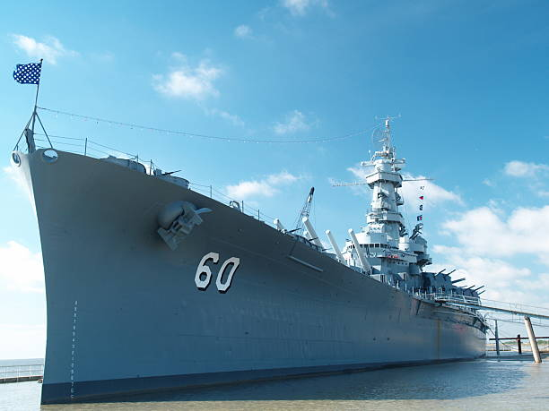USS Alabama from port stock photo