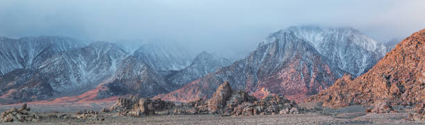 Alabama Hills and Sierra Nevada Mtns stock photo