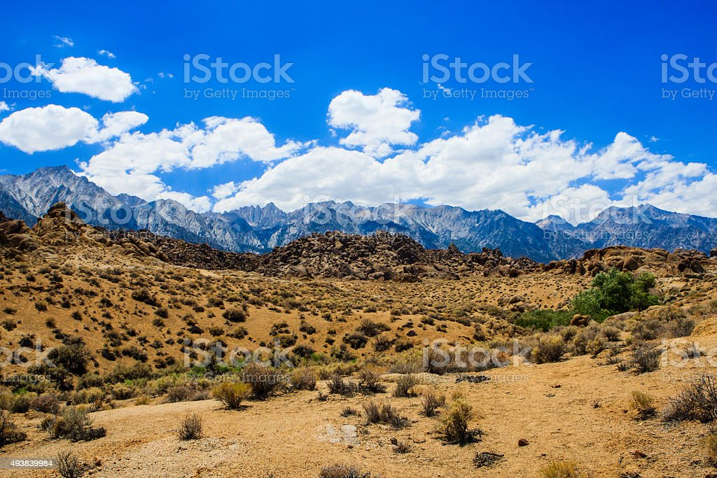 Alabama Hills rock formation, Sierra Nevada stock photo