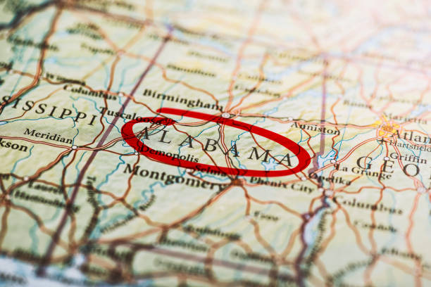 Alabama Marked on Map stock photo