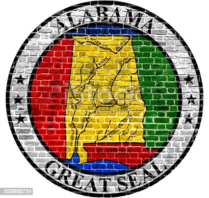istock Alabama Seal US flag painted on old vintage brick wall 539988734
