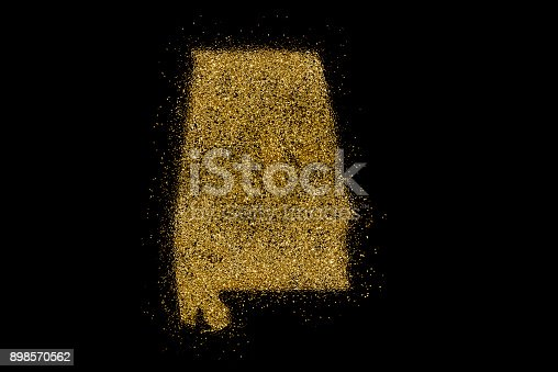 istock Alabama shaped from golden glitter on black (series) 898570562