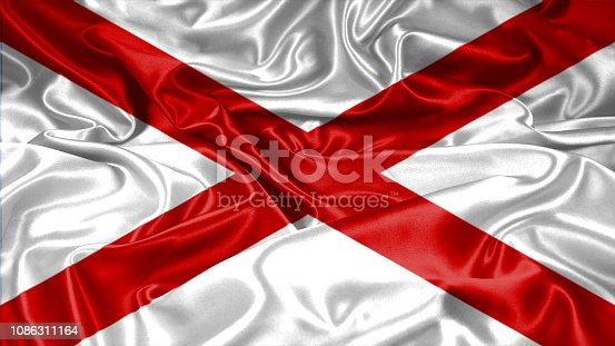 istock Alabama State flag on silk and satin 1086311164