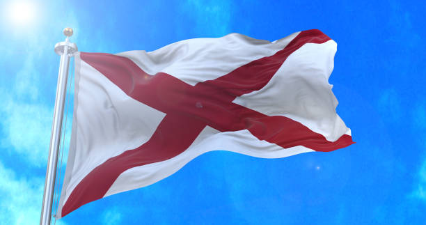 Alabama state flag. stock photo