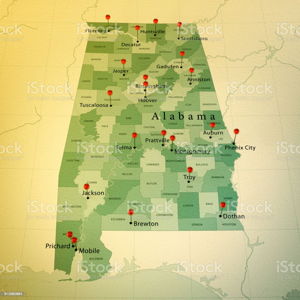 Alabama State Map Square Cities Straight Pin Vintage Stock ...