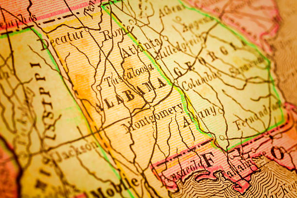 Alabama State on an Antique map stock photo