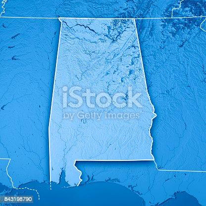 186815169istockphoto Alabama State USA 3D Render Topographic Map Blue Border 843198790