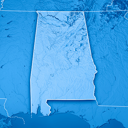 186815169 istock photo Alabama State USA 3D Render Topographic Map Blue Border 843198790