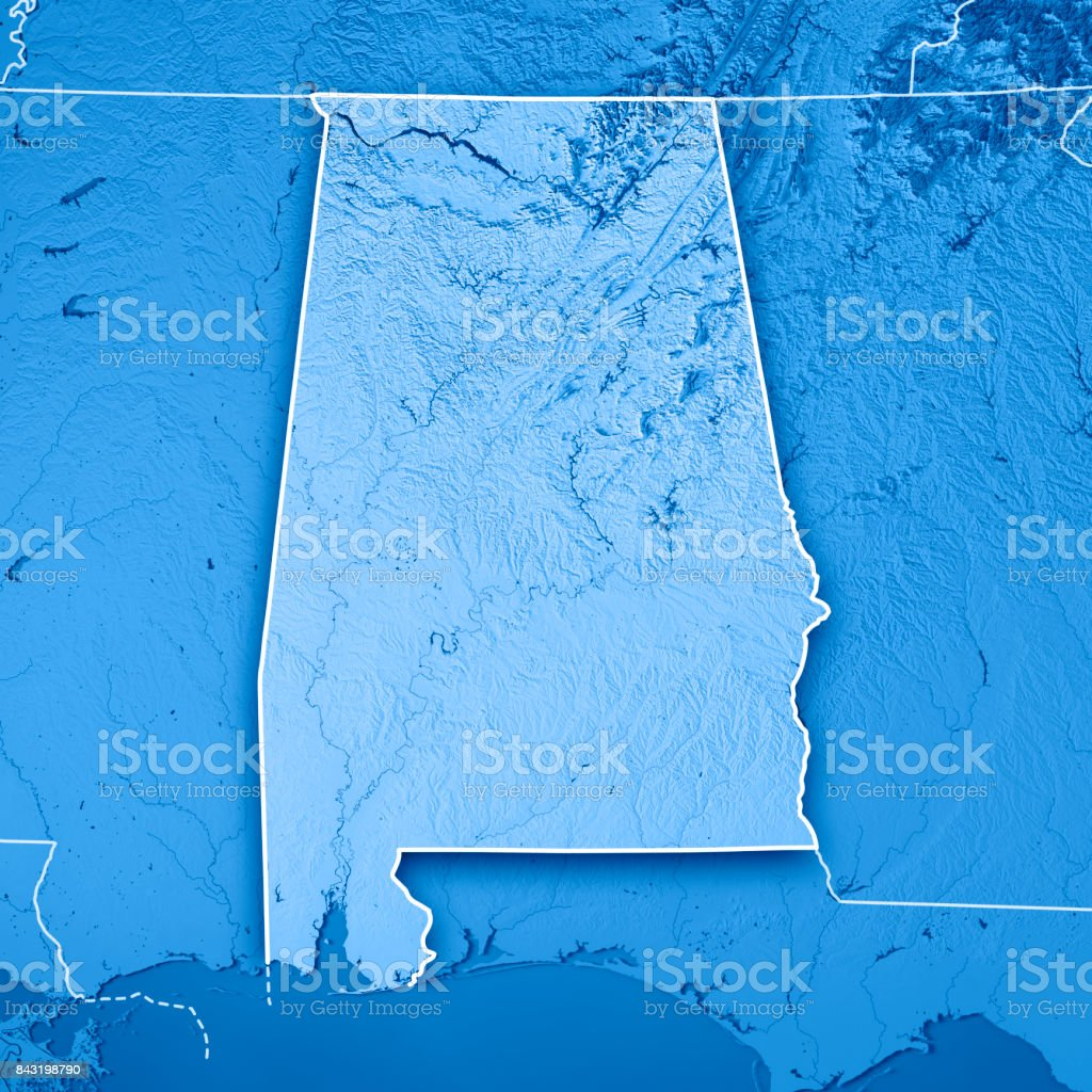 Alabama State USA 3D Render Topographic Map Blue Border stock photo