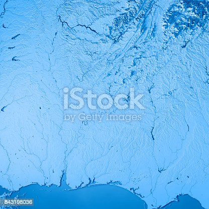 186815169istockphoto Alabama State USA 3D Render Topographic Map Blue 843198036