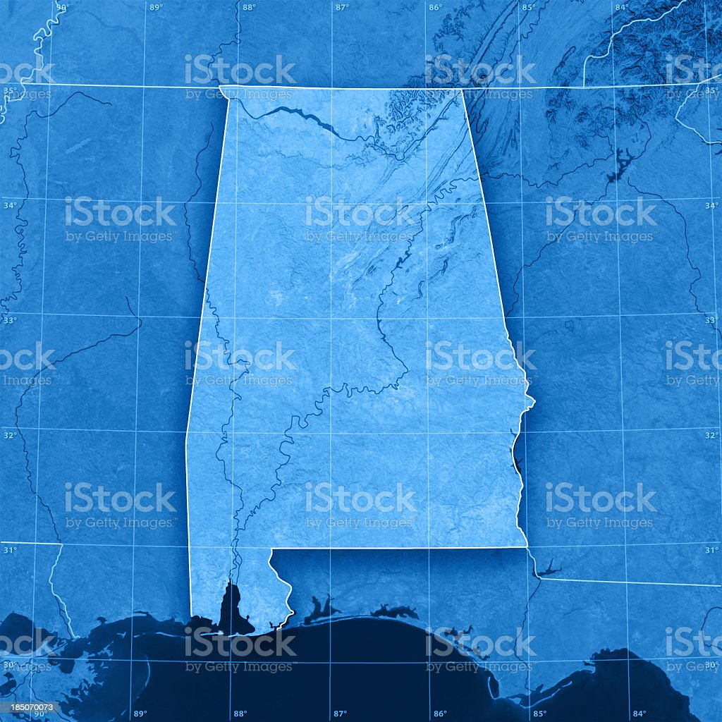 Alabama Topographic Map stock photo